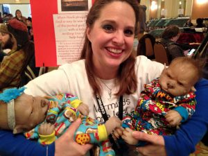 D. G. Driver with the werewolf babies at Chattacon, by doll artist www.werecubs.com